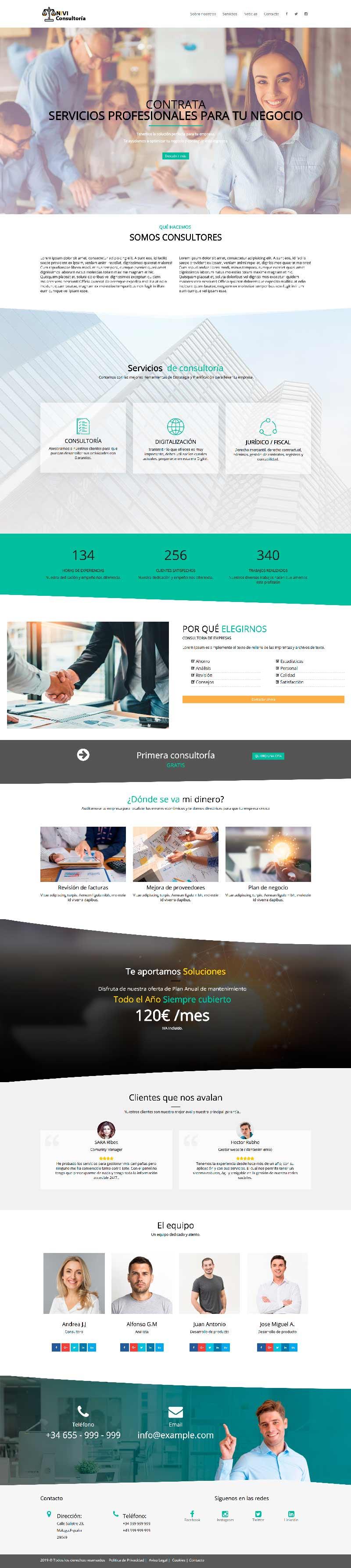 Plantilla web para consultoría consultores abogados Wordpress