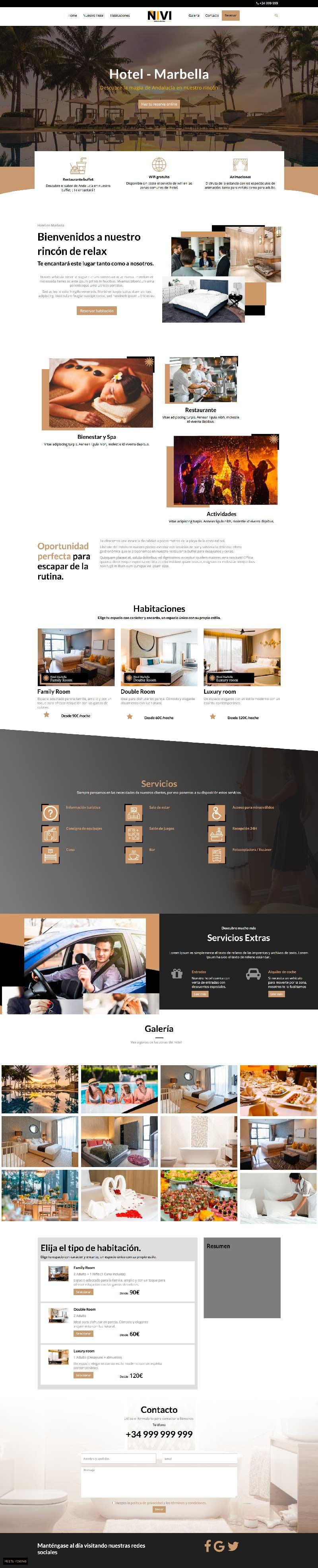 Plantilla web para hotel Wordpress Niviweb