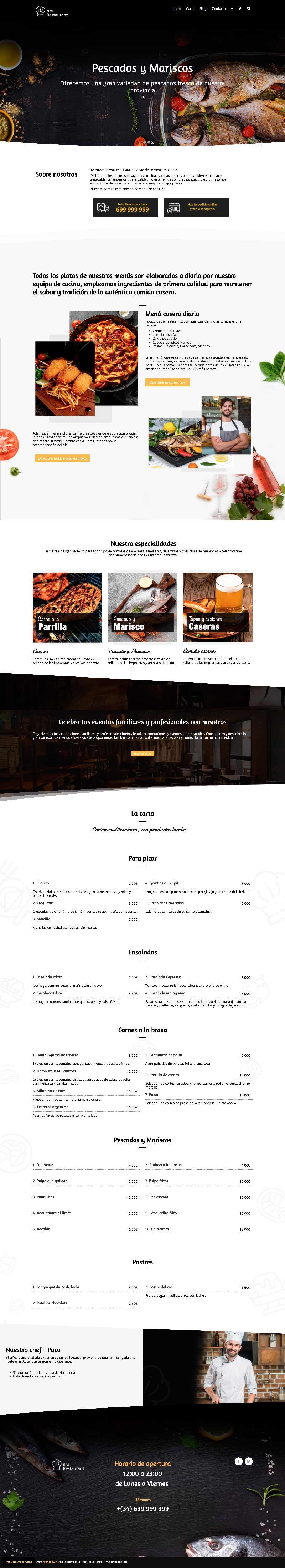 Plantilla web para restaurantes bares Wordpress