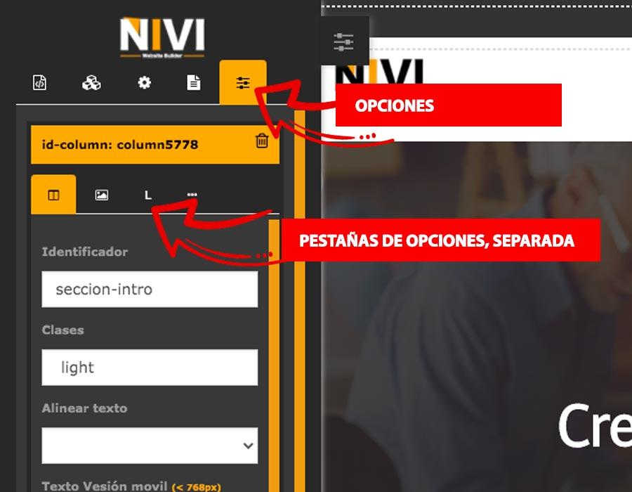 Opciones de configuración de sección o fila en la creación de página web