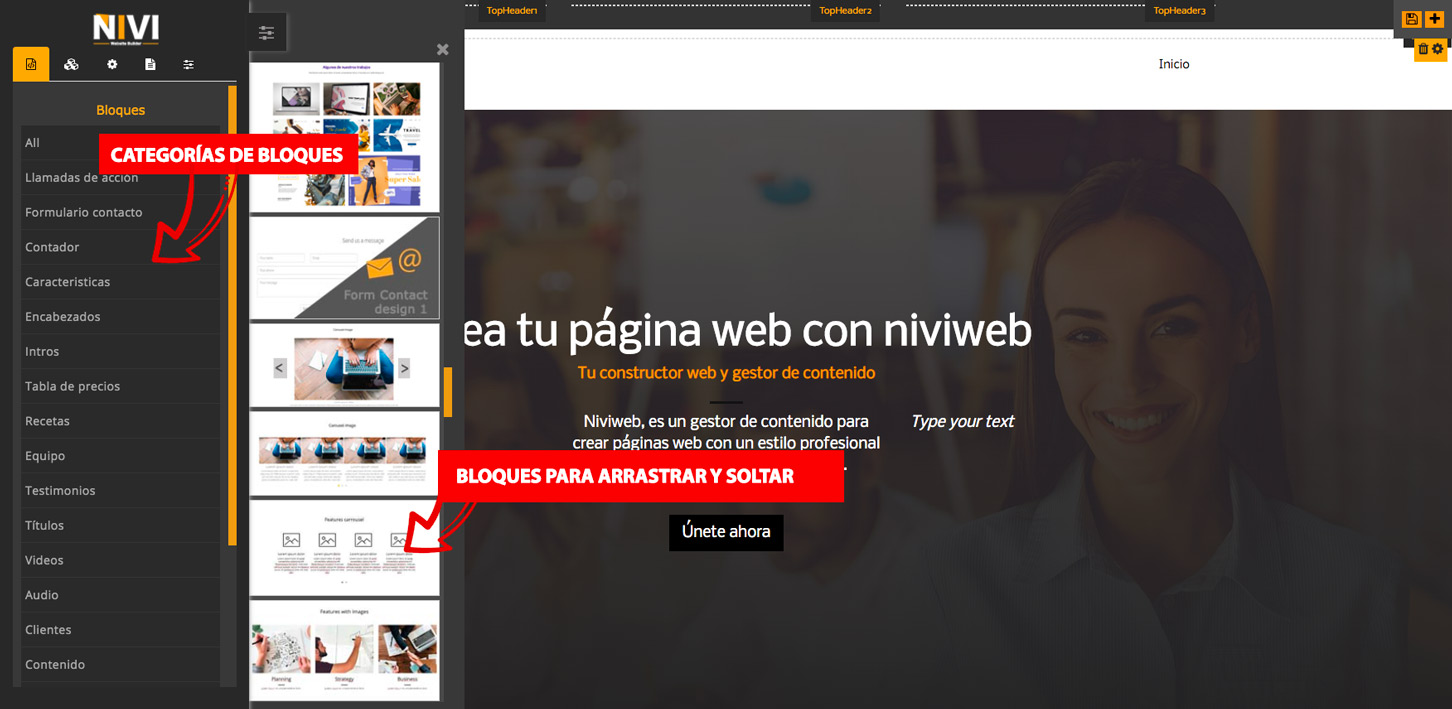 Creador de página web añadir sección fila por bloques