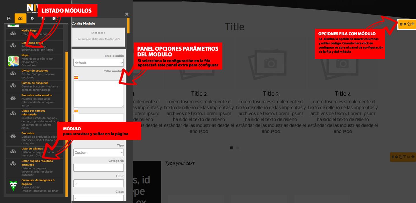 Añadir módulo en página web arrastrar y soltar editor