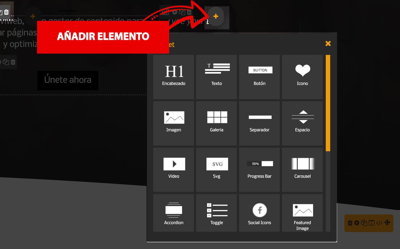 Incluir añadir elemento nuevo a una columna con editor niviweb