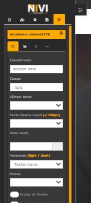 Opciones configurar fila clases sepador